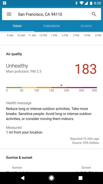 Pixel Weather App air quality