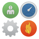 four icons representing a dashboard